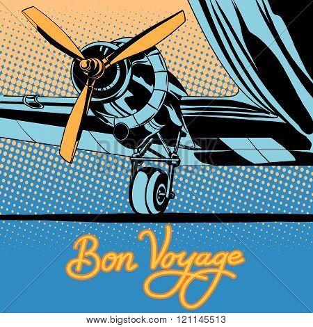 Bon voyage retro travel airplane poster