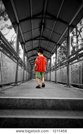 Lonely Boy On A Bridge Path