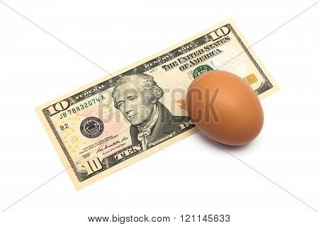Us Dollar And The Egg Is A Close-up On A White Background