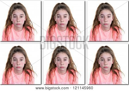 Identification photo of a girl for passport identity card