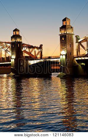 Bolsheohtinskiy Bridge, St.petersburg, Russia.