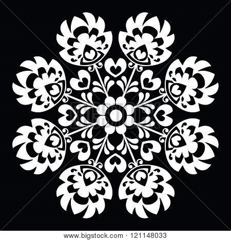 Polish round white folk art pattern - Wzory Lowickie, Wycinanka