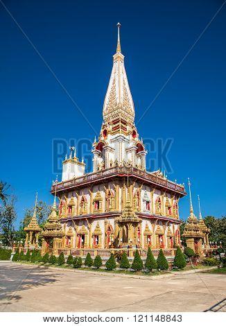 Phuket city, Thailand- Jan 24, 2016: .Wat Chaitharam or Wat Chalong temple on Jan 24, 2016 in Phuket city, Thailand.