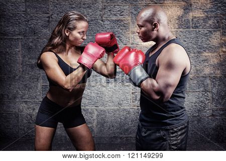 Male and female boxer with fighting stance against grey