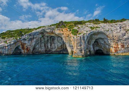 Blue Caves in Greek Island of Zakynthos