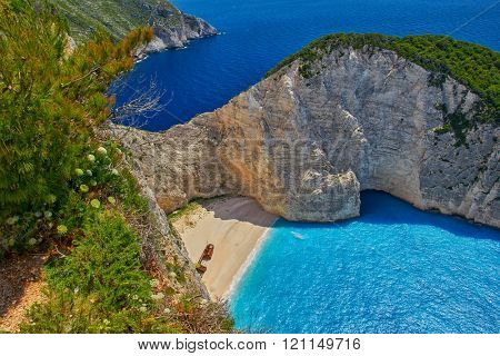 Navagio Pirate's Bay with Shipwreck - view from the top