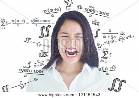 Screaming woman against maths equation