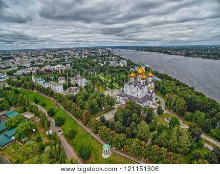 Skyline view of Yaroslavl city of Russia with Uspenskiy Cathedral in the center