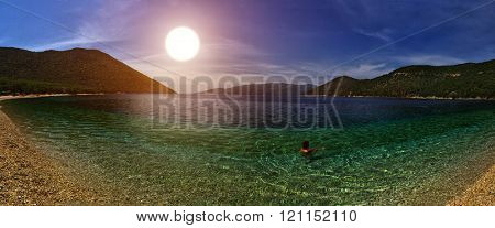 Warm Sunset at Gorgeous Antisamos Beach of Kefalonia Island, Greece