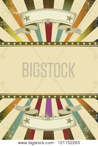 Background retro party. A retro background with multicolor sunbeams and a frame for your message
