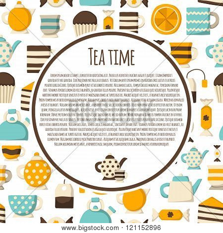 Cute teatime cartoon concept with seamless background for your design