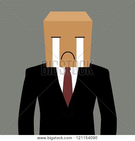 Cardboad Businessman With A Crying Face