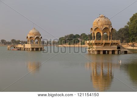 Gadisar lake in Jaisalmer, Rajasthan state, India