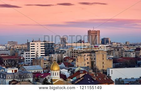 Bucharest Aerial View At Sunset