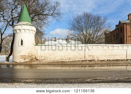 Staraya Ladoga, Russia - 23 February, Corner tower nunnery, 23 February 2016.Tourist places in the great ancient route from the Vikings to the Greeks.Staroladozhsky Holy Assumption nunnery. Gold ring of Russia.