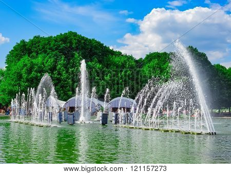Fountain In Gorky Park On Summer Day