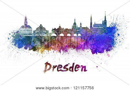 Dresden Skyline In Watercolor