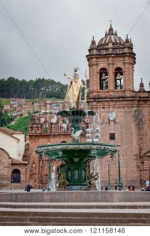 Inca fountain in the Plaza de Armas of Cusco, Peru