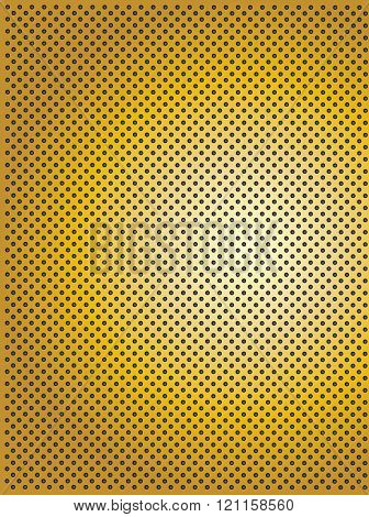 Concept conceptual yellow abstract metal stainless steel aluminum perforated pattern texture mesh background as metaphor to industrial, abstract, technology, grid, silver, grate, spot, grille surface