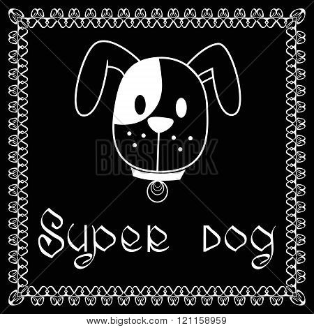 Vector image of dog on black background. It is good for animation pet shop pet house pet clinic dog care or other pet activity.