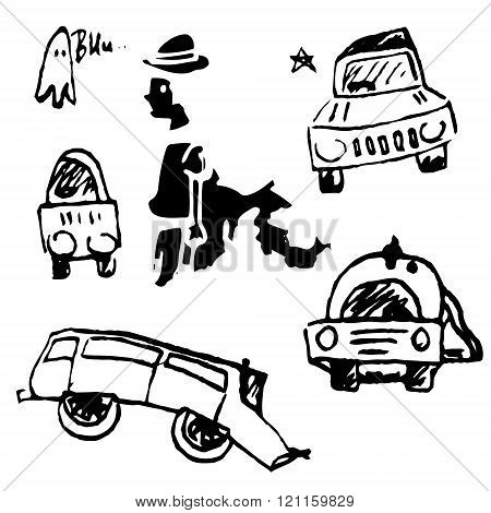 Cars on a white background
