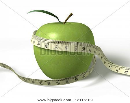tape measure wrapped around the green apple