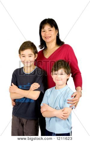 Asian Lady With Her Two Beautiful Son