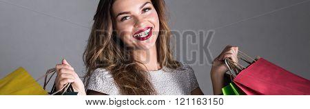 Beautiful Girl Addicted To Shopping
