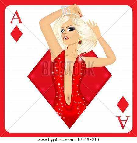 blonde woman representing ace of diamonds card from poker game