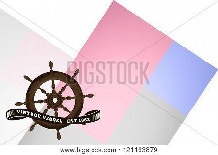 Vintage rudder against colored background