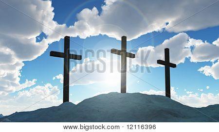 three cross on Calvary hill