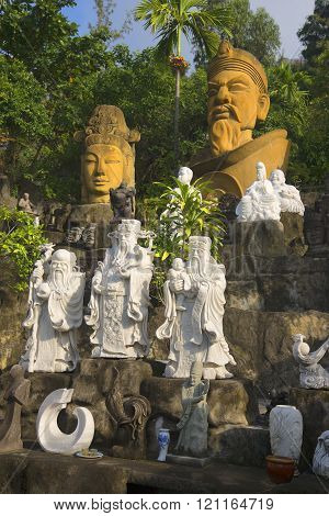 Sculpture at the foot of the Marble mountains. Vietnam