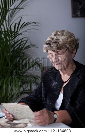 Woman is reading love letters