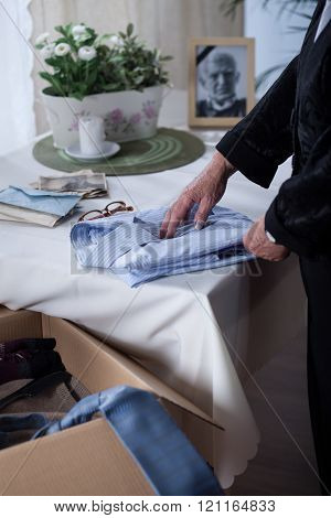 Widow is hiding husbund clothes
