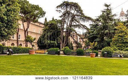 Peaceful green garden of Vatican Museums, Rome