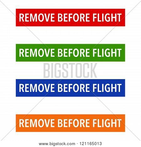 Multicolour Remove Before Flight Safety Tags on a white background