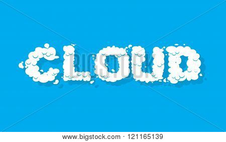 Cloud. White Cloud Text. Blue Sky And White Cloud. Letters From Cloud.