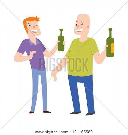 Group of friends alcoholics people at a bar vector illustration. Alcoholics people two men holding hands with a bottle of alcohol. Alcoholics people laughing vector. Laughing two man.