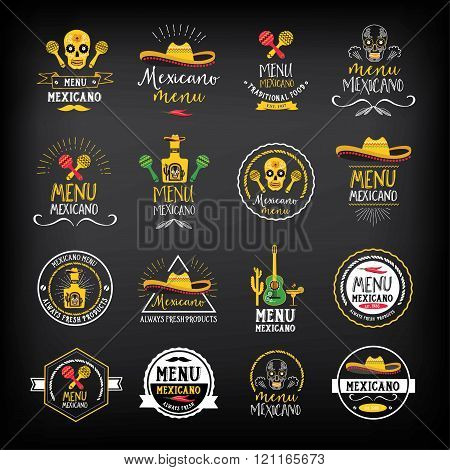 Menu mexican logo and badge design.