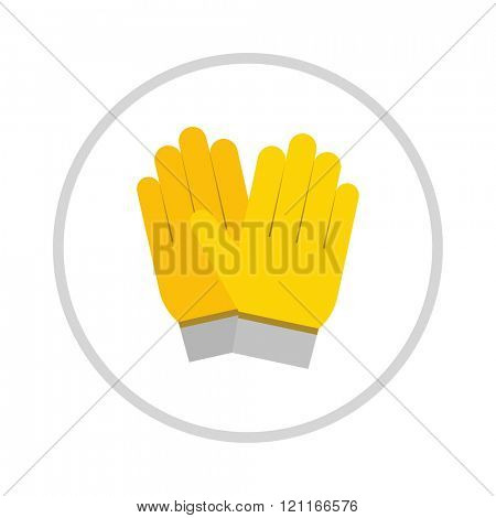 yellow gloves, hand protection isolated on white background. Gloves safety on white background. Yellow glove. Gloves leather sportswear.