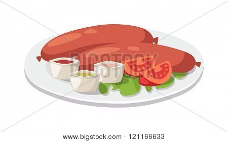 Traditional English Breakfast. Image is isolated on white background. Full English breakfast with bacon, sausage, fried egg. Grilled sausage with garlic and onions. English Breakfast.