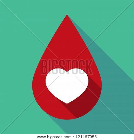 Long Shadow Blood Drop With A Heart