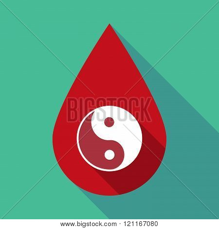 Long Shadow Blood Drop With A Ying Yang