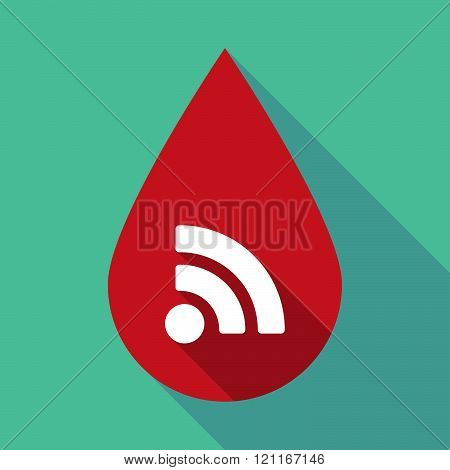 Long Shadow Blood Drop With An Rss Sign
