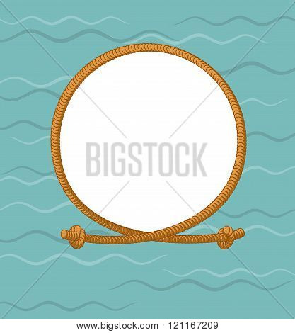 Maritime Round Frame With Rope. Thick Rope And Knots. Knot-photo Frame