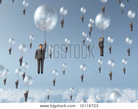 businessman flying on balloon