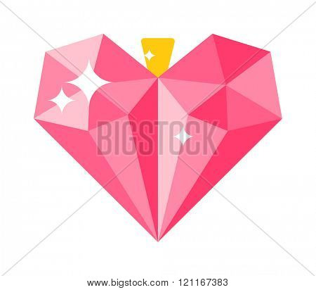Love concept heart decoration vector illustration. Heart on ring on white background. Gold ring with heart ruby pendants. Jewelry heart decoration vector design. Gold ring with heart decoration