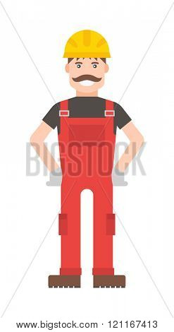 Cartoon vector worker character illustration. Smart worker cartoon character illustration. Cartoon worker professional man with a mustache in a yellow helmet and in a red suit. Cartoon worker.