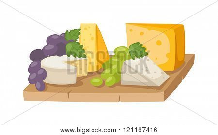 Piece of sliced cheese isolated vector. Sliced cheese. Feta cheese(Greek cheese), maasdam cheese slices on a wooden serving board decorated with fresh fruit, grapes. Maasdam Swiss Cheese piece with