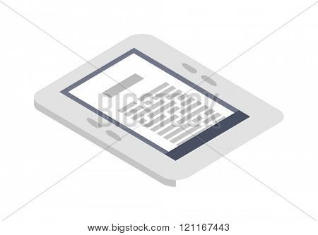 Isometric ebook icon vector illustration flat design. Computer technology isometric design. Isometric e-book icon. E-book reading concept. Isometric design. Icon isometric e-book on white background.